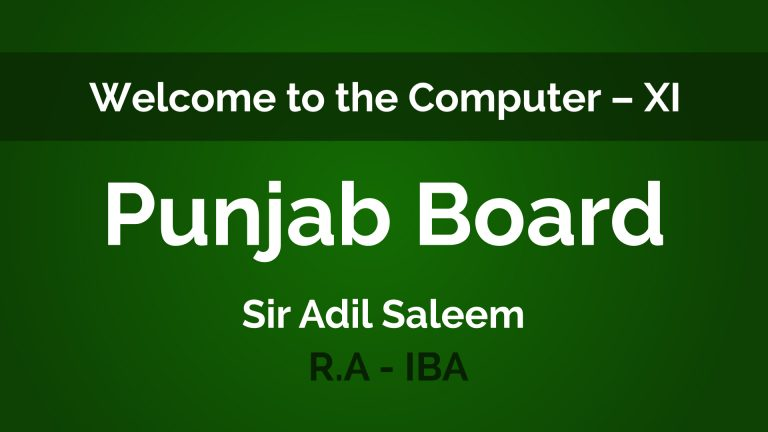 Computer - XII Second Year - Punjab Board