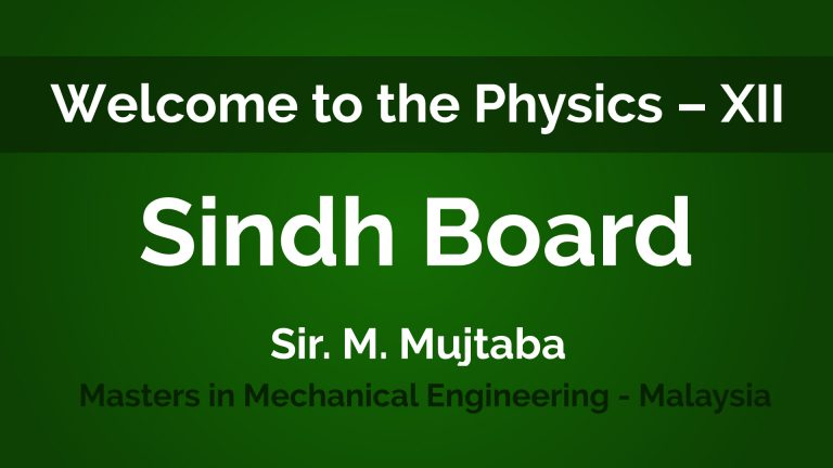 Physics – XII Second Year – Sindh Board